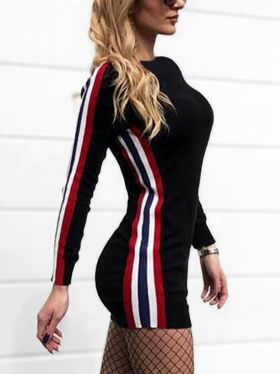 Stripe Detail Round Neck Bodycon Mini Dress