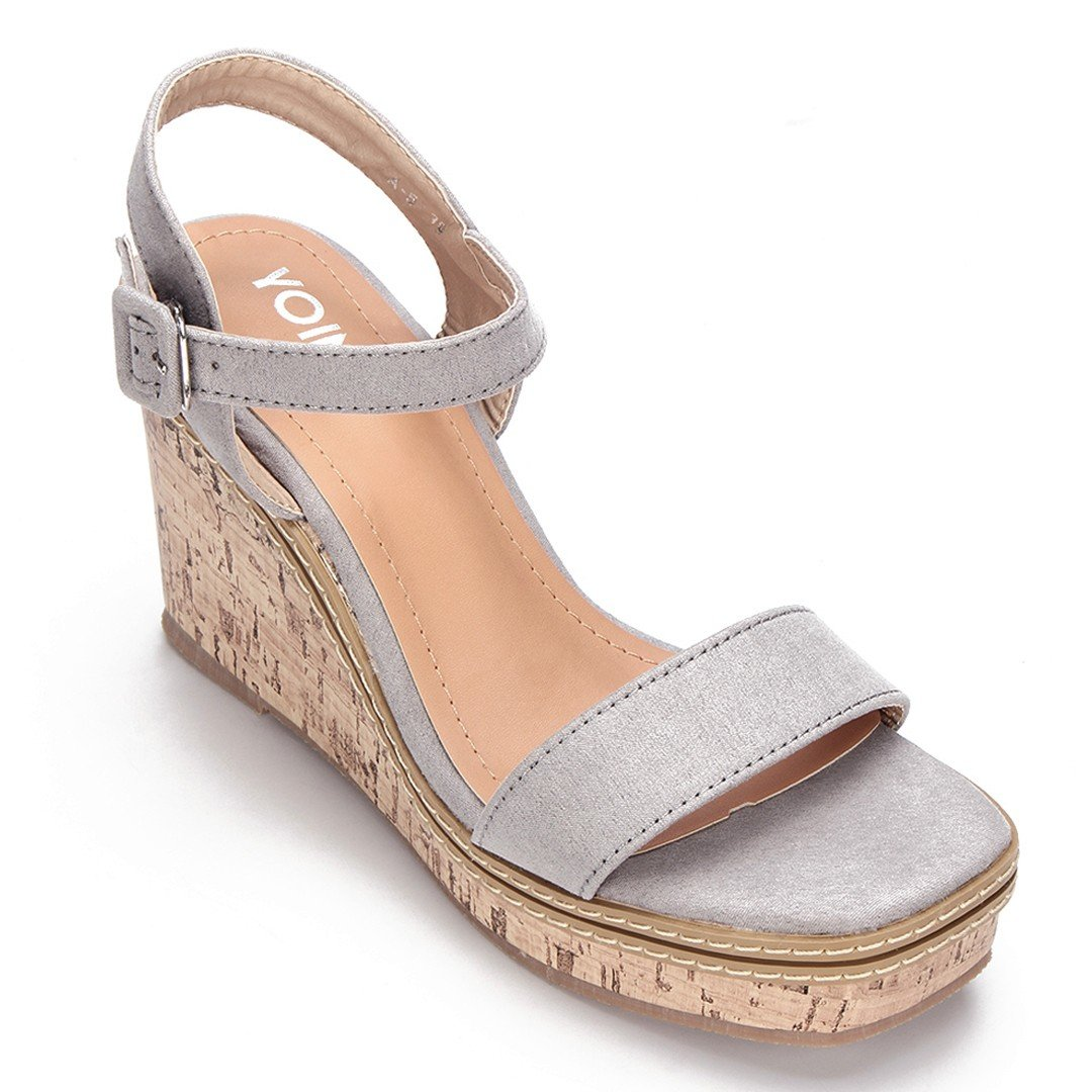 Grey Suede Look Faux Wood Sole Wedge Sandals