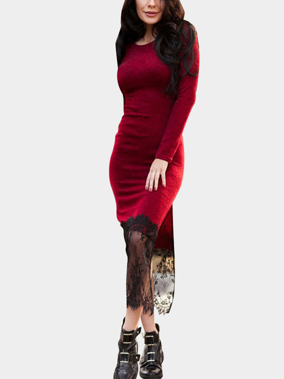 Red Round Neck Lace Hem Slit Side Maxi Dress side slit marled long hoodie