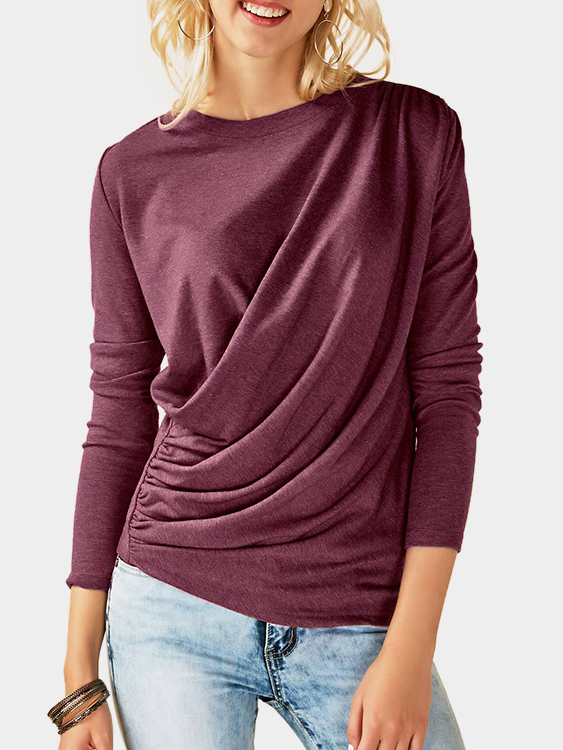Fuchsia Pleated Design Plain Crew Neck Long Sleeves T-shirts blue pleated design plain crew neck long sleeves t shirts