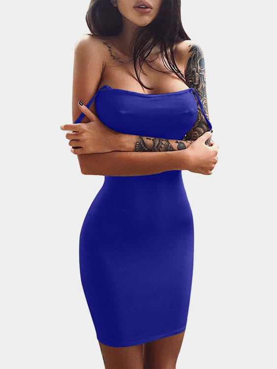 Blue Spaghetti Off Shoulder Bodycon Mini Dresses the girl in blue