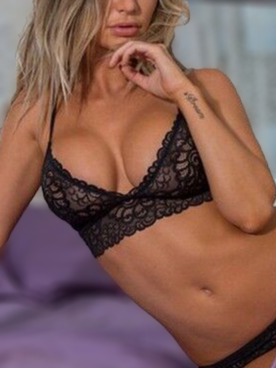 Sexy Lace Details Lingerie Set with No Falsies in Black