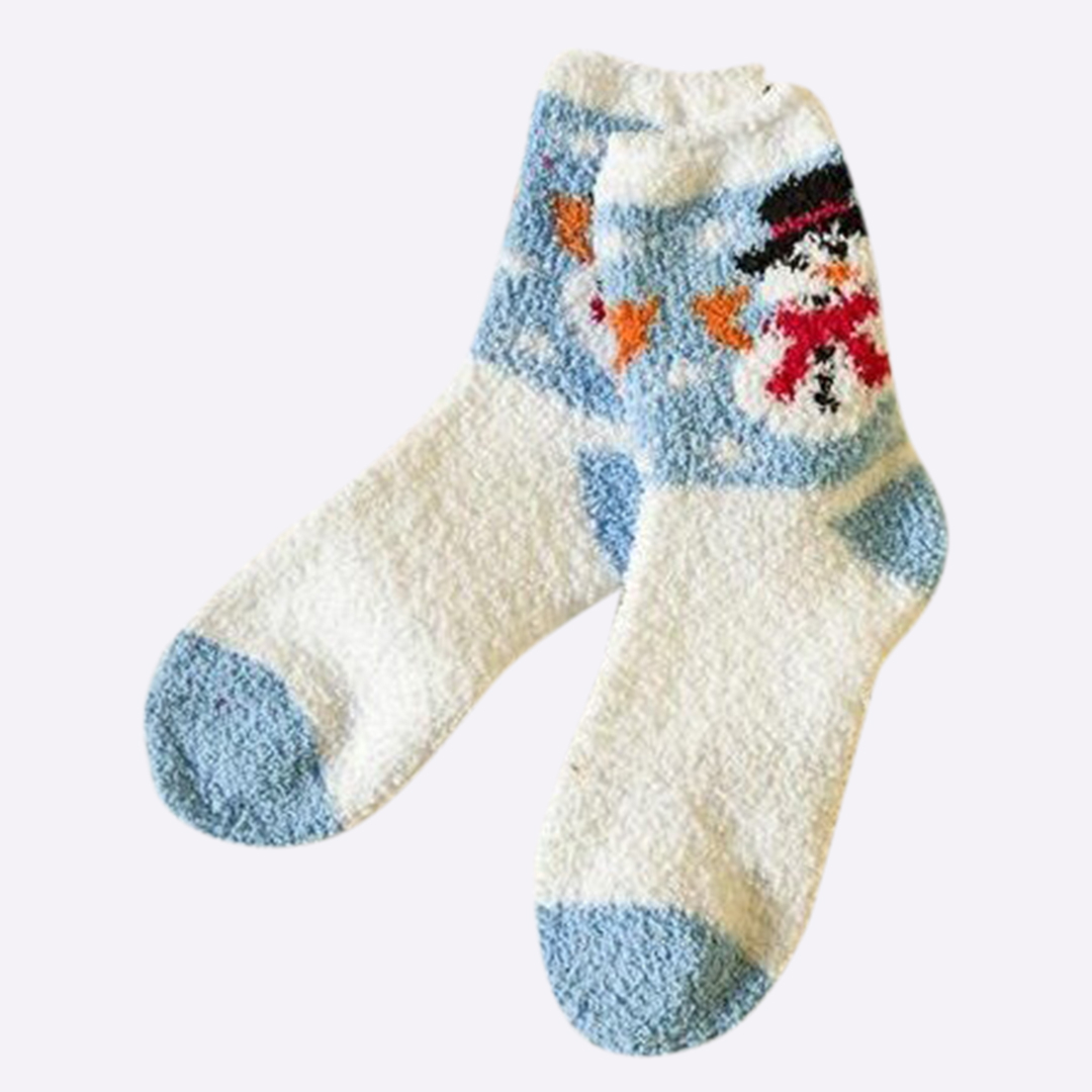 Blue Snowman Graphic Socks