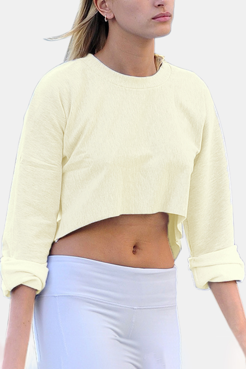 Active Round Neck Cut Out Loose Sweatshirts in Beige active round neck cut out loose sweatshirts in grey