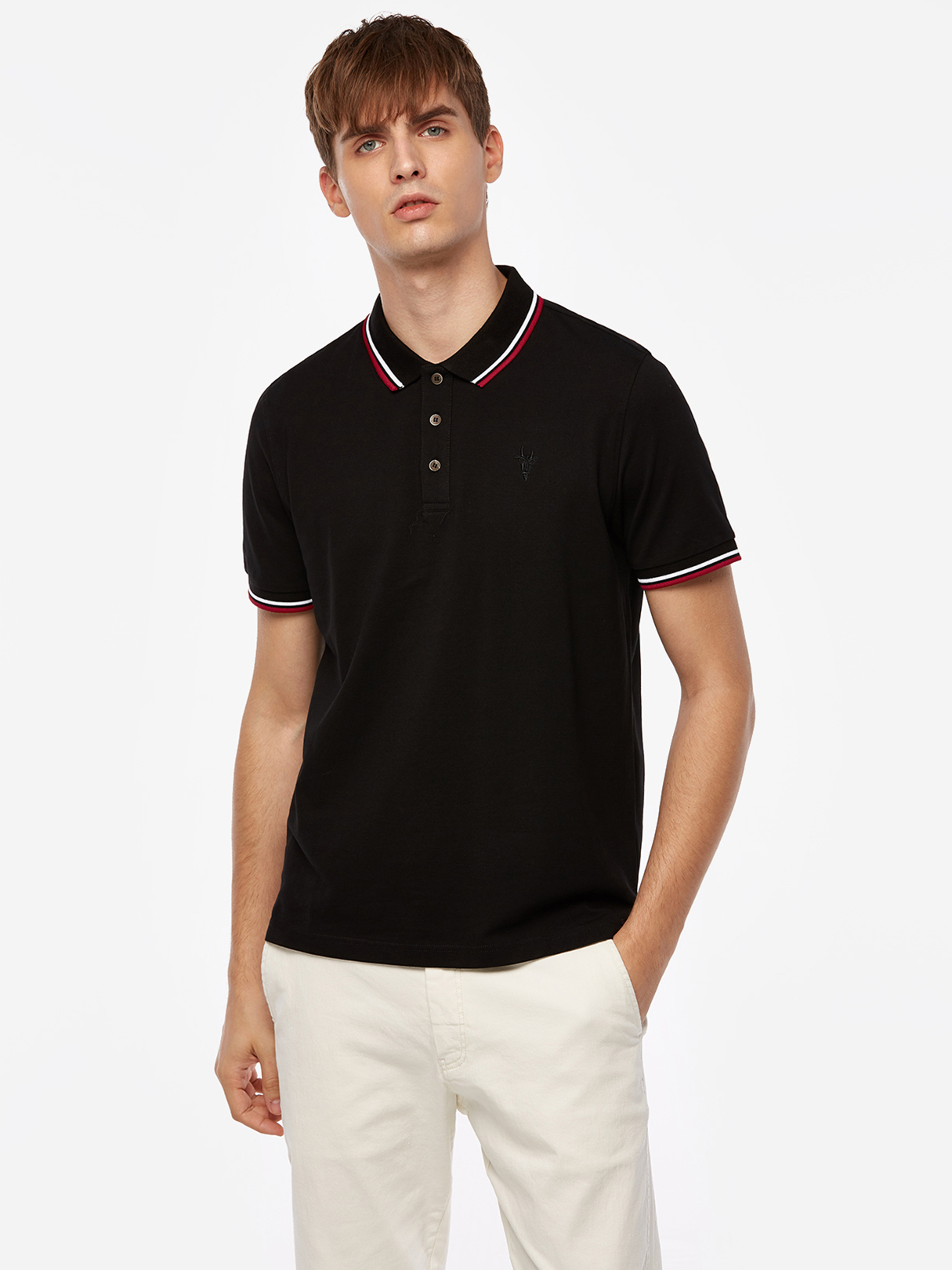Black Pure Color Stripes Three Buttons Short Sleeve Men's Polo Shirt dark blue color blocking three buttons short sleeve men s polo shirt