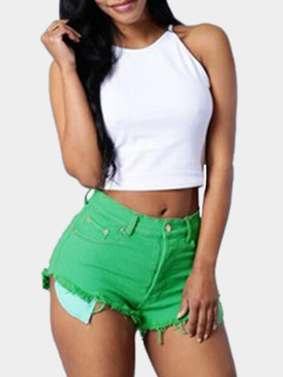 Women High-rise Ripper Denim Shorts in Green sweet high rise sash tie waist shorts in pink