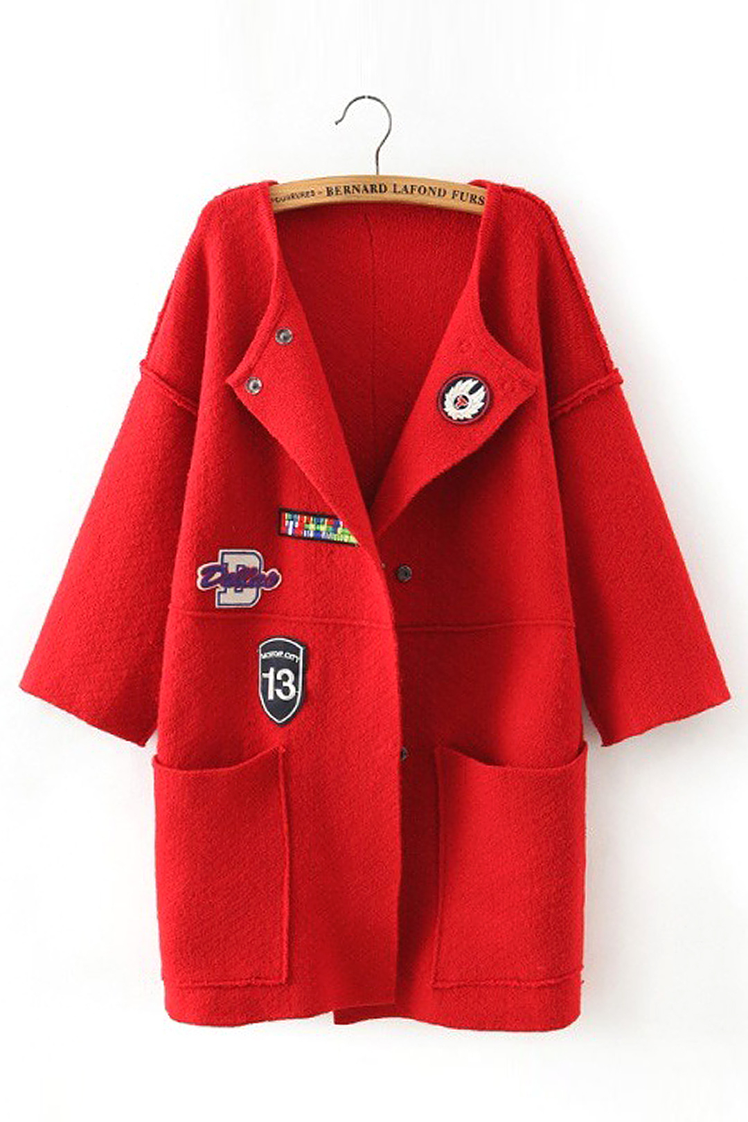 Red Drop-shoulder Coat with Patch Pattern Detail