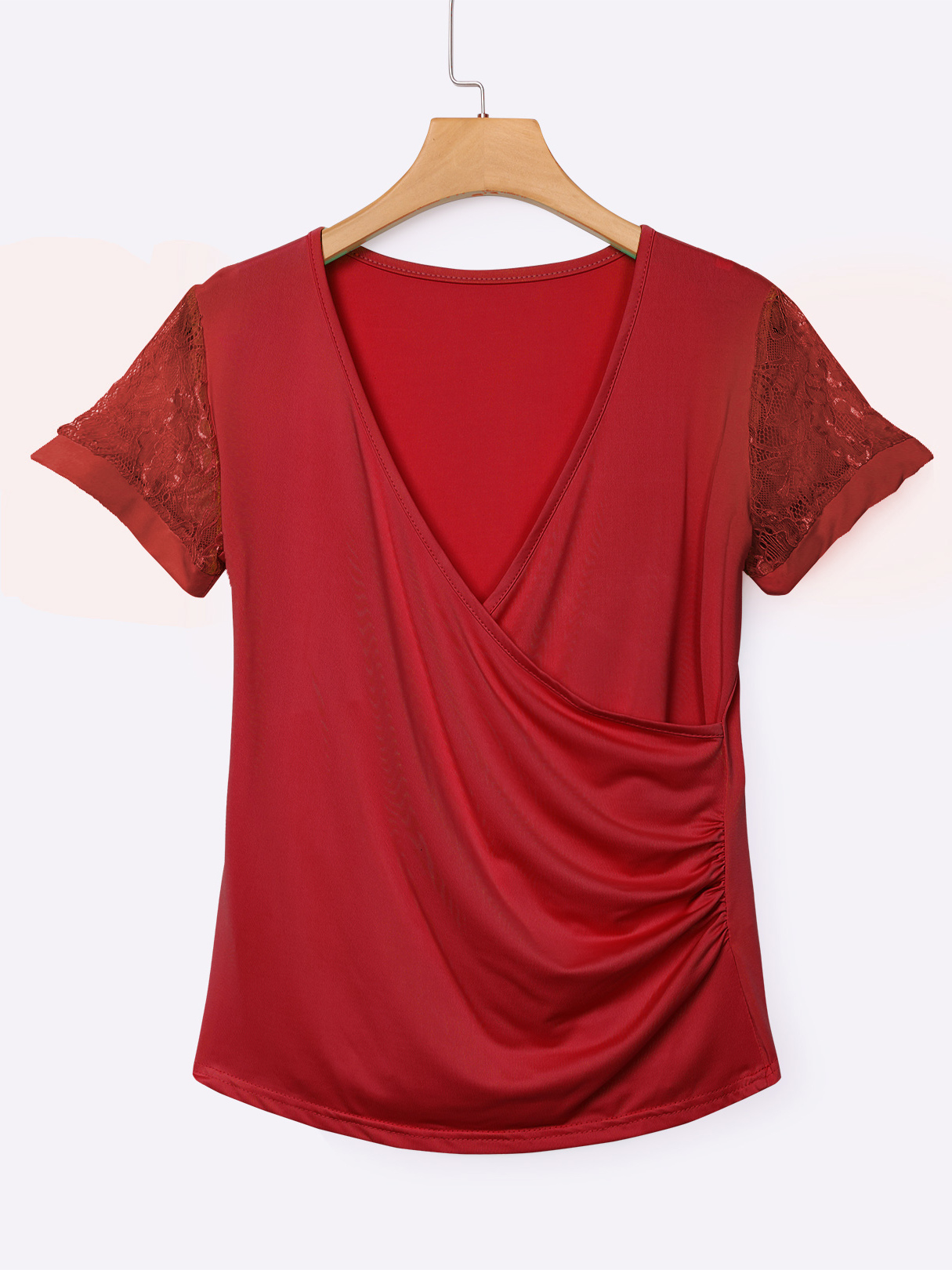 Red Low Cut V-neck Wrap Front T-shirts