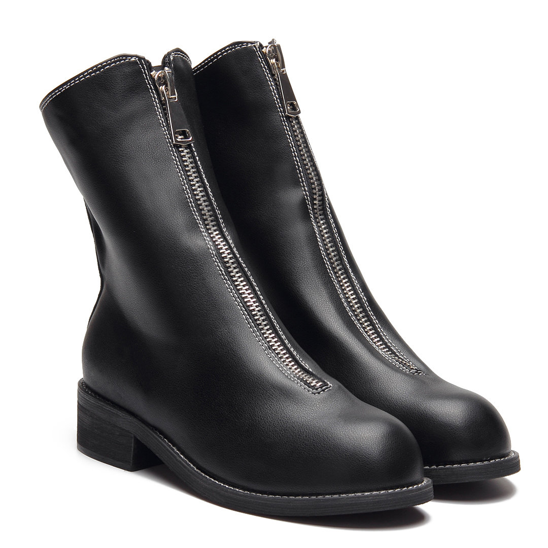Black Front Zipper Design Ankle Boots