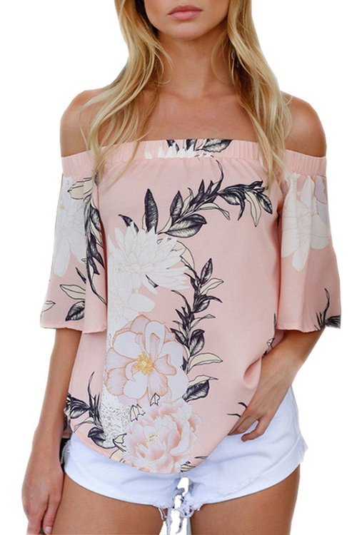 Random Floral Print Elastic Off Shoulder Chiffon Blouse in Pink