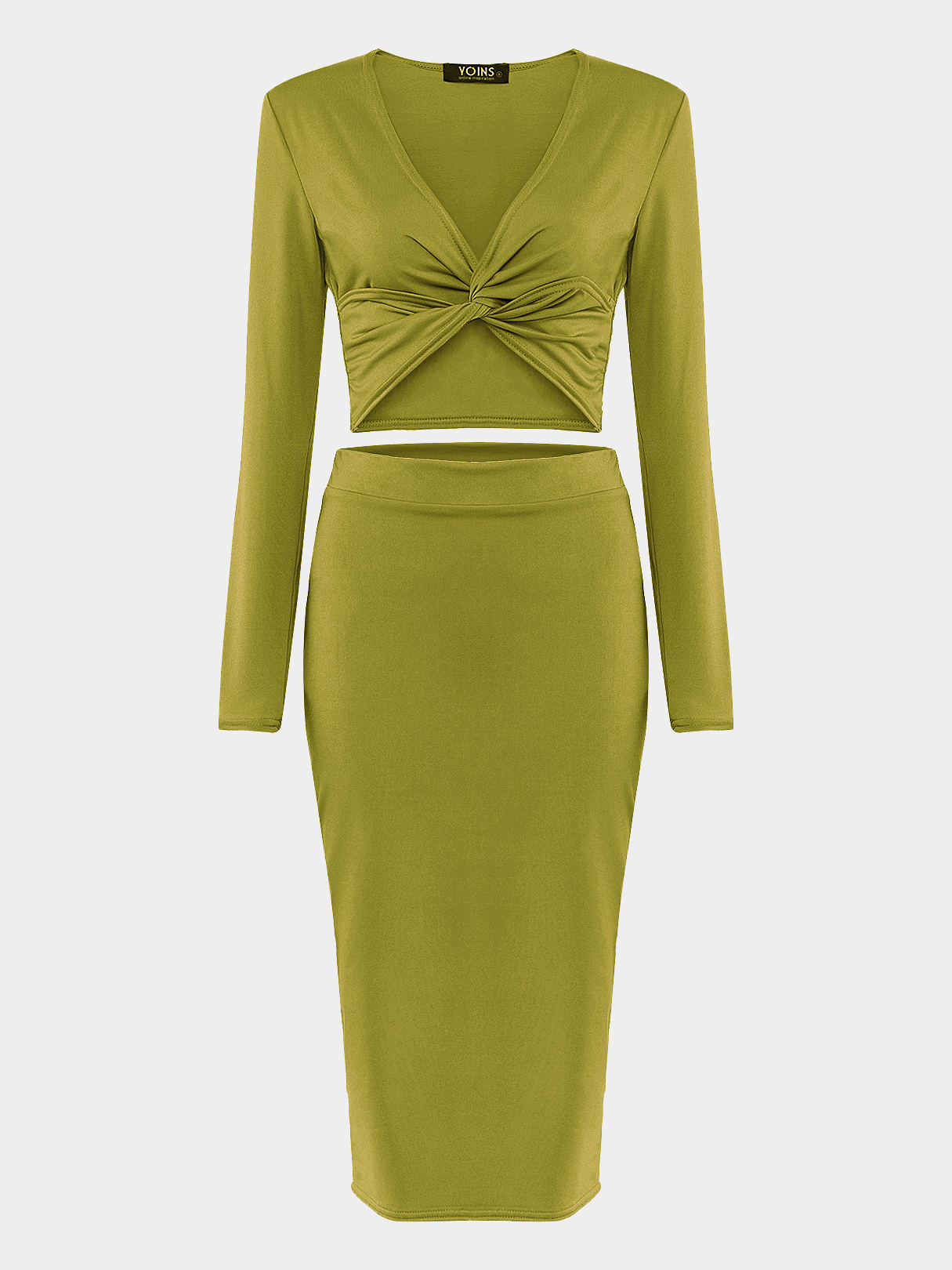 Green Cross Front Crop top & Midi Skirt Co-ord
