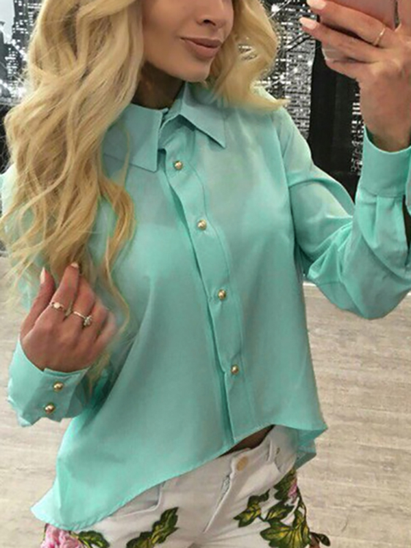 Green Zipper Back Cured Hem Chiffon Shirt
