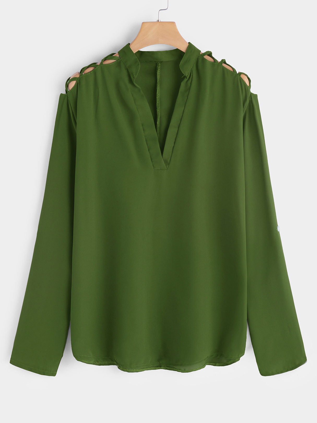 Army Green Hollow Out V-neck Long Sleeves Shirt