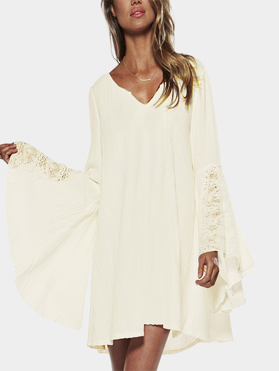 Beige Lace Details V-neck Flared Long Sleeves Loose Fit Dress zip back fit and flared plaid dress
