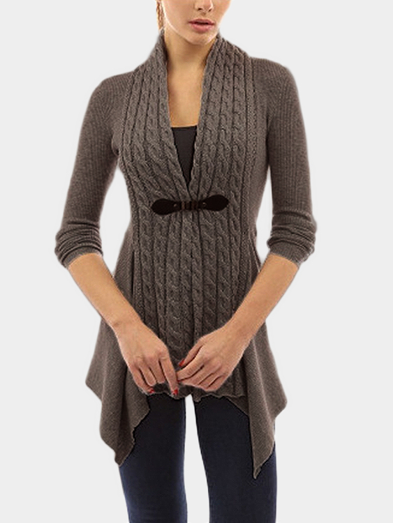 Brown Long Sleeves Irregular Hem Cardigan brown stripe pattern irregular hem cardigan