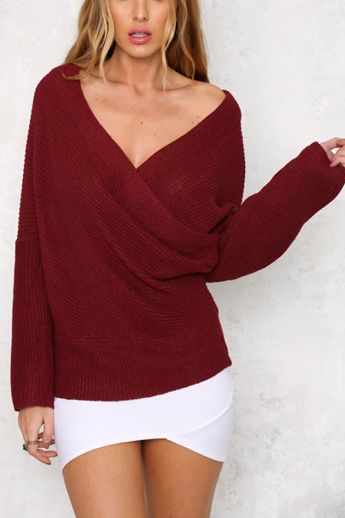 Burgundy Sexy Off-shoulder Wrapped Sweater skull off the shoulder tunic sweater